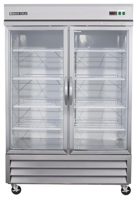 Maxx Cold Glass Double Door Refrigerator Modern
