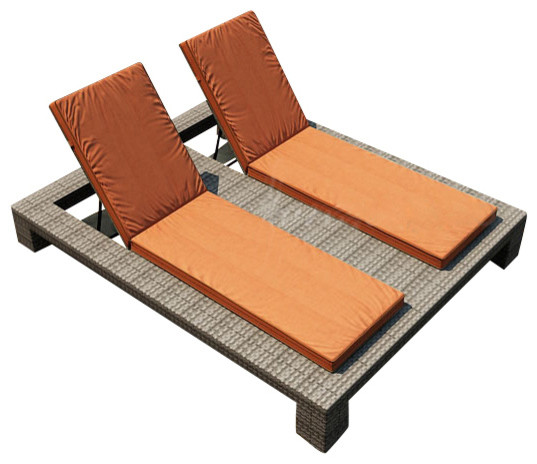 Hampton double adjustable chaise lounge heather wicker for Burnt orange chaise lounge