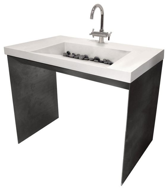 Industrial Sink : Contempo Concrete Sink, Limestone, No Hole industrial-bathroom-sinks