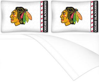 Nhl chicago blackhawks 4pc full bed sheet set for Chicago blackhawk bedroom ideas