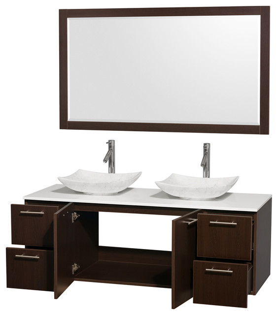 Amare 60 espresso double vanity white man made stone top for Marble top console sink