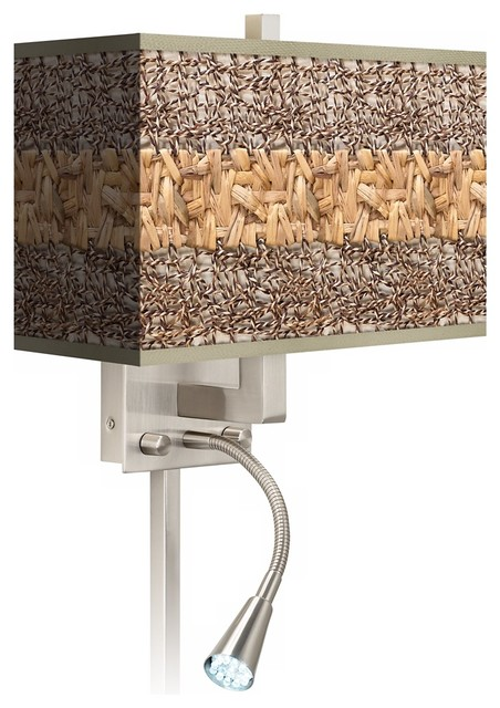 Rustic Wall Sconces Plug In : Woven Fundamentals Giclee LED Reading Light Plug-In Sconce - Rustic - Wall Lighting