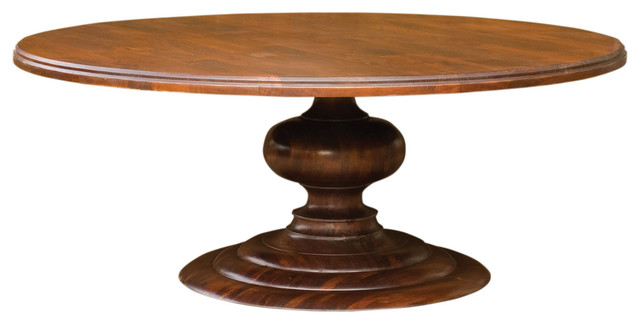 76 solid mango wood round dining table traditional for Mango wood dining table