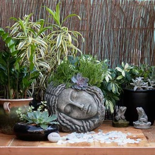 Sleeping beauty in cast stone pots eclectic outdoor for Beauty stone fireplaces