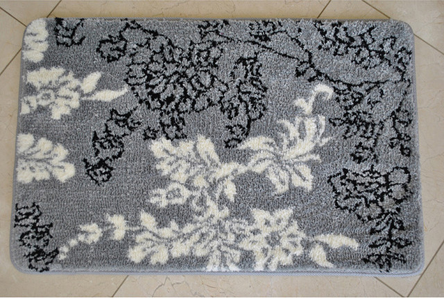 Memory Foam Grey White Floral 20 X 32 Bath Mat Contemporary Doormats By