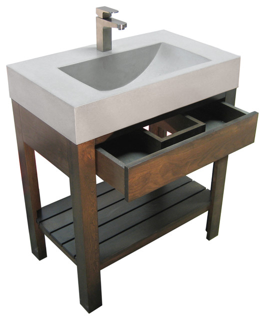 30 Lavare Concrete Bathroom Vanity Sink With Drawer Bathroom Sinks