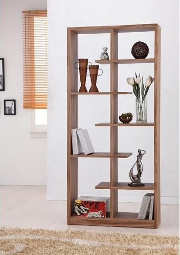 Enitial Lab Gian 5-Shelves Bookcase/Display Cabinet in Light Walnut Finish - Modern - Bookcases ...