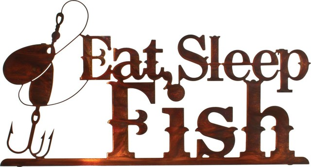"Eat, Sleep, Fish Rustic Metal Wall Art 24"" rustic-artwork"