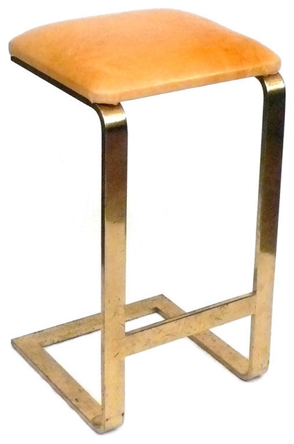 Brass And Leather Stool Modern Bar Stools And Counter