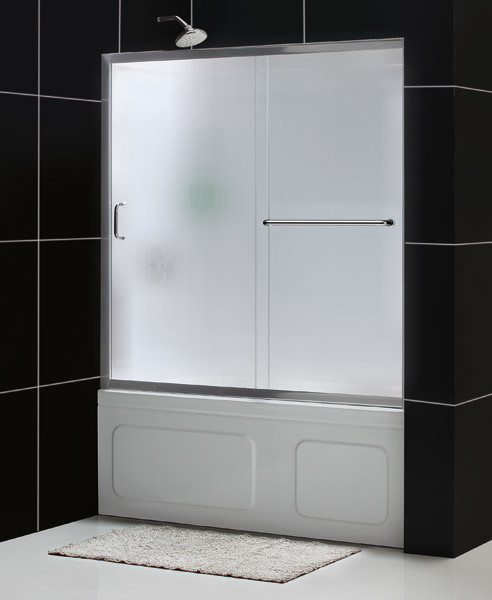 "Infinity-Z 56 to 60"" Frameless Sliding Tub Door, Frosted 1/4"" Glass Door - Contemporary - Shower ..."