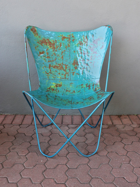 blue butterfly chair Eclectic Outdoor Lounge Chairs austin by red mo