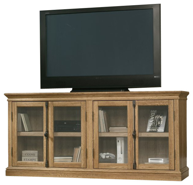 Sauder Barrister Lane Storage Credenza in Scribed Oak - Transitional - Entertainment Centers And ...