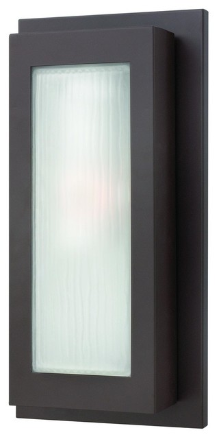 2054KZ Titan Outdoor Wall Light Buckeye Bronze Organic Ribbed Etched Glass