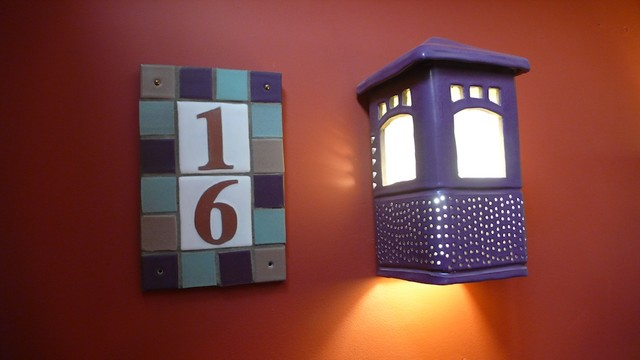 Address plaque with craftsman sconce mediterranean for Mediterranean house numbers
