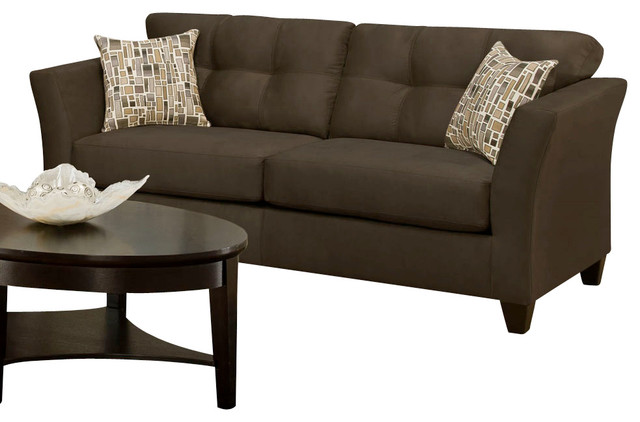 Chelsea Home Del Mar Sofa In Beijing Chocolate Greeley Neutral Pillows Traditional Sofas