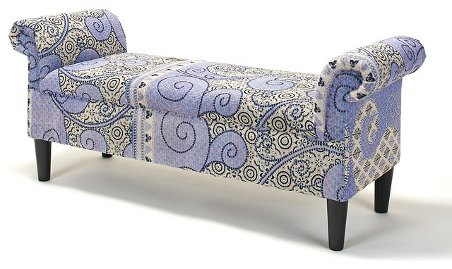 Powder Blue Spiral Dehlila Roll Arm Bench Contemporary Upholstered Benches