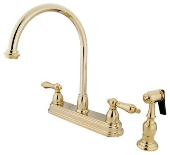 Restoration Two Handle 8 Kitchen Faucet With Brass Sprayer Traditional Kitchen Mixers By