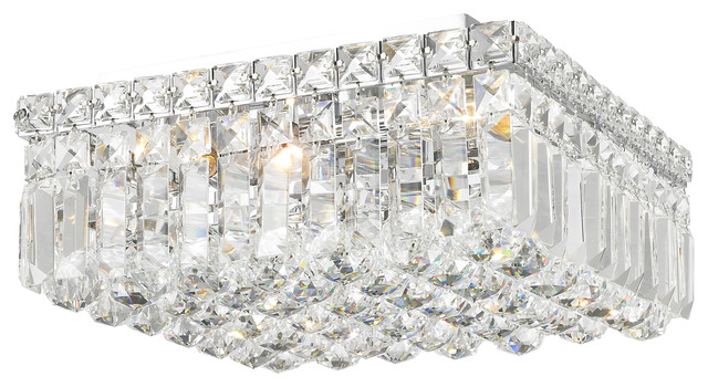 Square flush mount crystal ceiling light ceiling tiles contemporary 4 light polished chrome crystal ball prism 12 square aloadofball Image collections