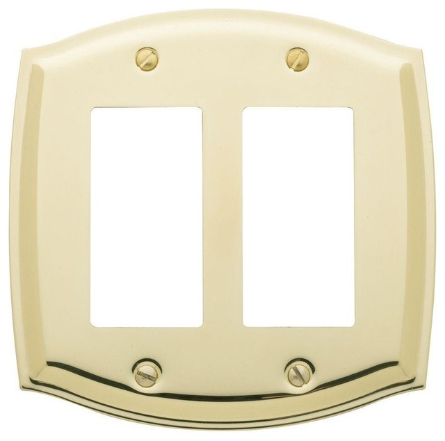 Colonial 2 gfci wall plate polished brass traditional for Outlet colonial