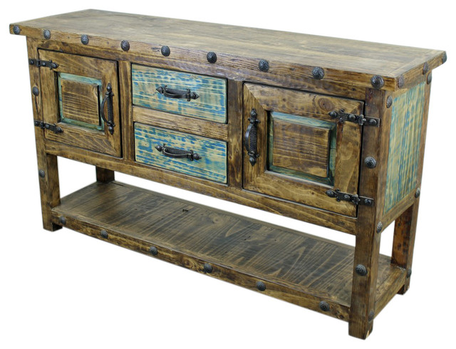 Rustic Iron Console Table ~ Old world console table with iron accents rustic