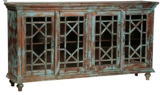 Vintage Distressed Blue Sideboard with Glass Paneled Doors ...