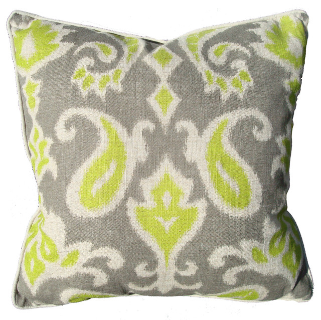 Yellow Linen Throw Pillow : Yellow & Grey Ikat Linen Pillow - Modern - Decorative Pillows - by McKinley Square Home Design ...