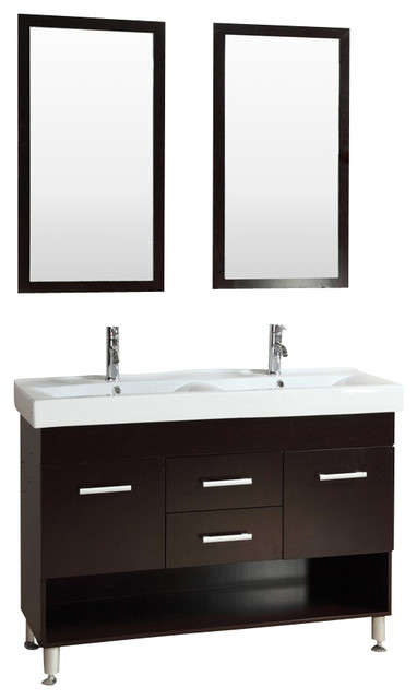48 Modern Vanity Bathroom Furniture Double Sink Cabinet Glass Top Con