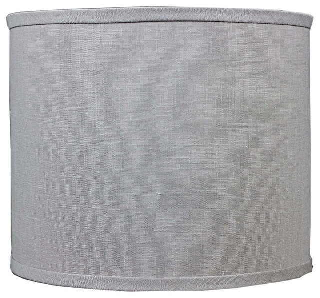 True Gray Linen Drum Lamp Shade 14x14x11 Spider