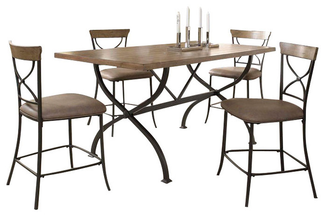 Hillsdale Charleston 5 Piece Counter Table Set With X Back Stools Tradition