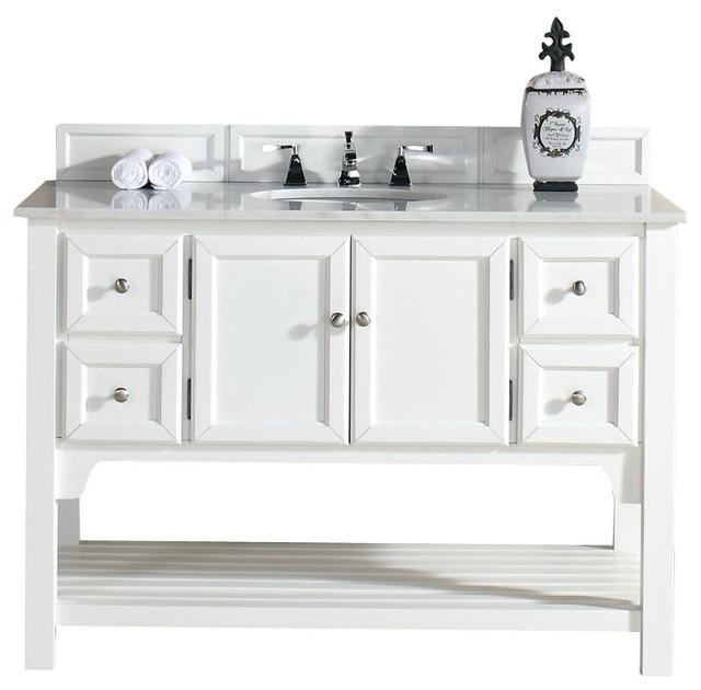 South Hampton 48\u0026quot; Single Vanity, White Finish, Guangxi Marble Top beachstylebathroomvanities