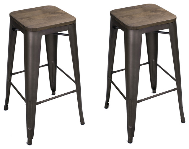 Adeco Black Bronze Wood Top Seat 30quot Metal Counter Stools  : modern bar stools and counter stools from www.houzz.com size 640 x 506 jpeg 50kB