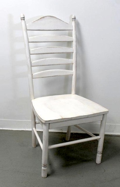 White Farmhouse Ladder Back Chair Farmhouse Dining