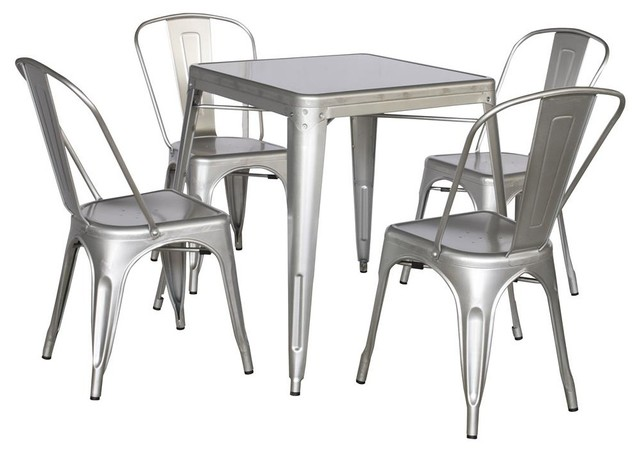 Industrial Dining Table Set: Dining Set With Side Chairs In Shiny Silver