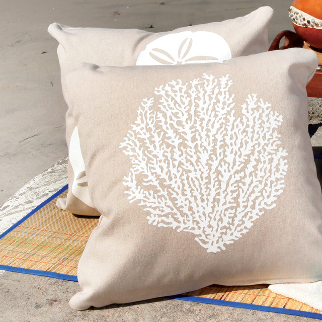 Beach Style Pillows : Sea Fan Eco Outdoor Throw Pillow in Living Coastal - Beach Style - Decorative Pillows - san ...