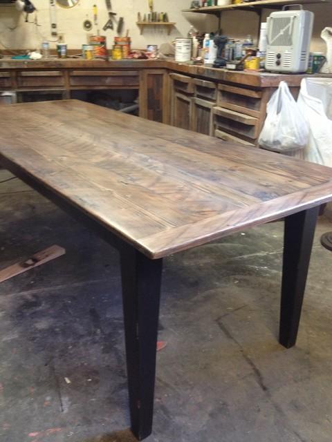 custom harvest table, reclaimed wood top, tapered leg