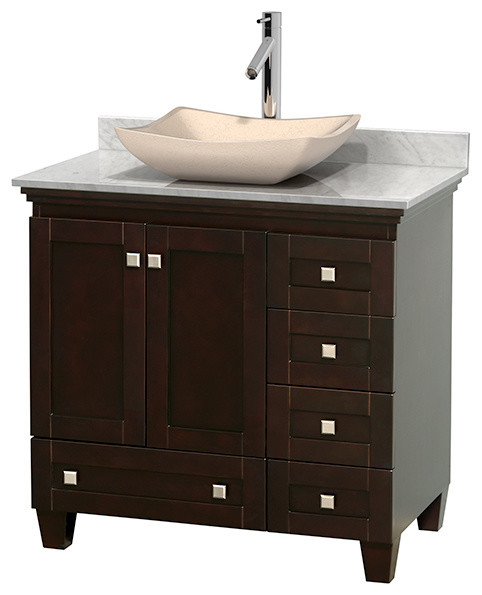 Acclaim 36 espresso vanity carrera marble top avalon for Marble top console sink