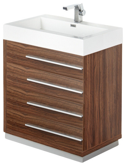 30 Inch Walnut Modern Bathroom Vanity Contemporary Bathroom Vanities And Sink Consoles By