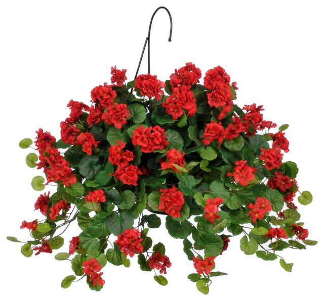 Hanging Flower Baskets Care : Artificial red geranium wt hanging basket transitional