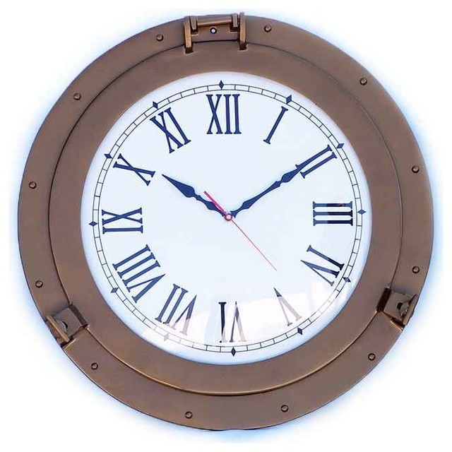 decorative ship porthole clock antique brass 20 beach style wall clocks by handcrafted. Black Bedroom Furniture Sets. Home Design Ideas