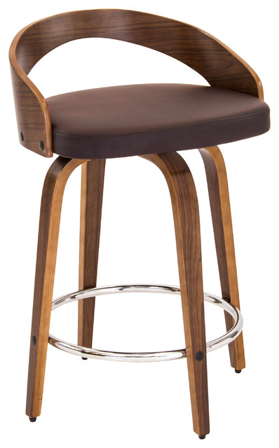 Grotto Mid Century Modern Counter Stool With Walnut Wood