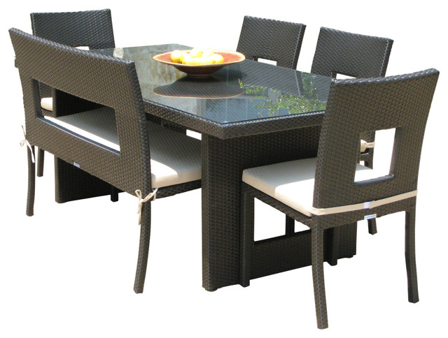 Acosta 6 Piece Wicker All Weather Dining Set Contemporary Outdoor Dining