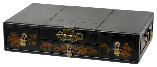 Black Lacquer Mirror Jewelry Box - Traditional - Jewelry Boxes And Organizers - by Oriental ...
