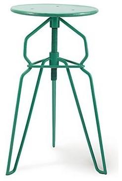 Danish Modern Adjustable Height Bar Stool Turquoise