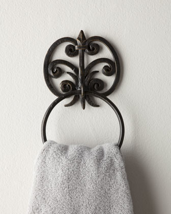 Fleur de lis towel bar traditional towel bars and hooks by horchow - Fleur de lis towel bar ...