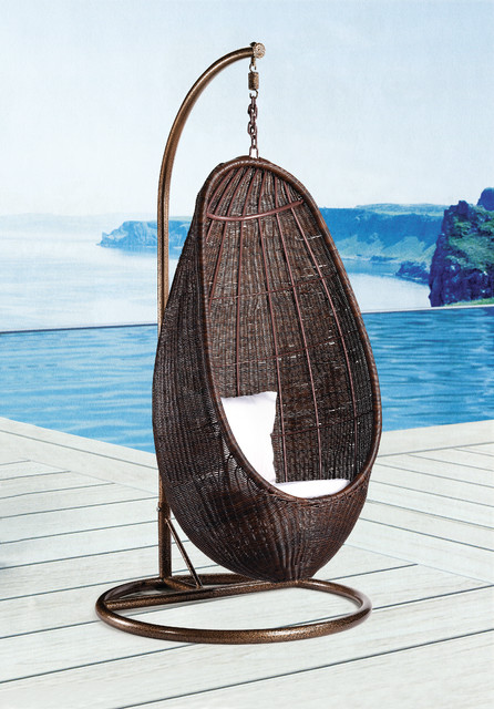 RATTAN HANGING CHAIR WITH STAND Modern Outdoor Products New York By E
