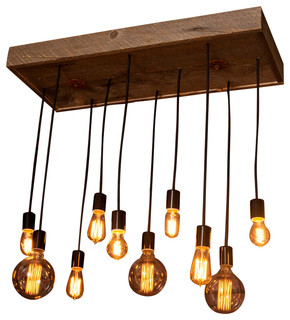 Industrial Lighting, Industrial Chandelier With Reclaimed Wood and 10 Pendants
