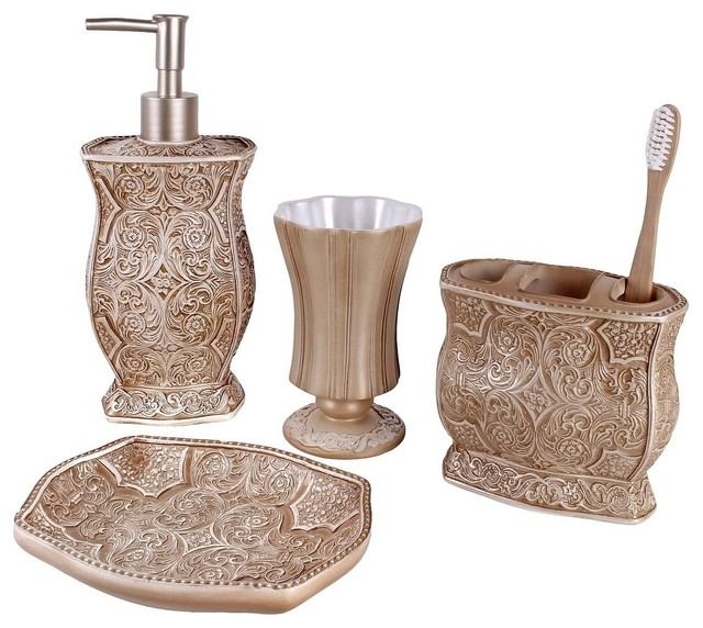 Victoria 4 piece bath accessory set contemporary for Where to find bathroom accessories