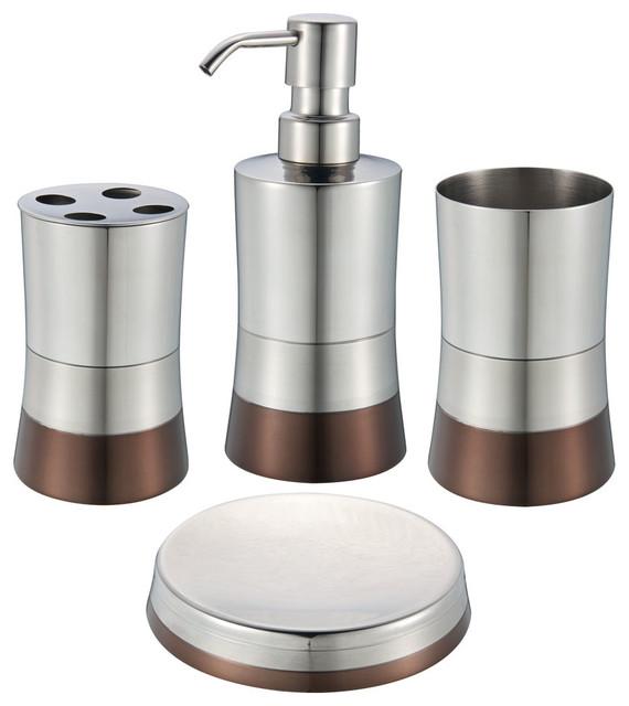 Shiny matte 4 piece bathroom set bronze contemporary for Bronze bathroom accessories set