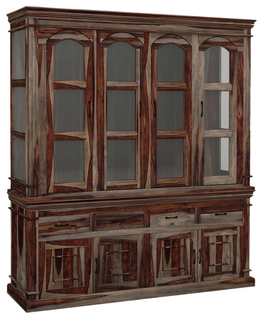 Solid Wood Casement Glass Door Rustic Hutch & Sideboard - Rustic - China Cabinets And Hutches ...