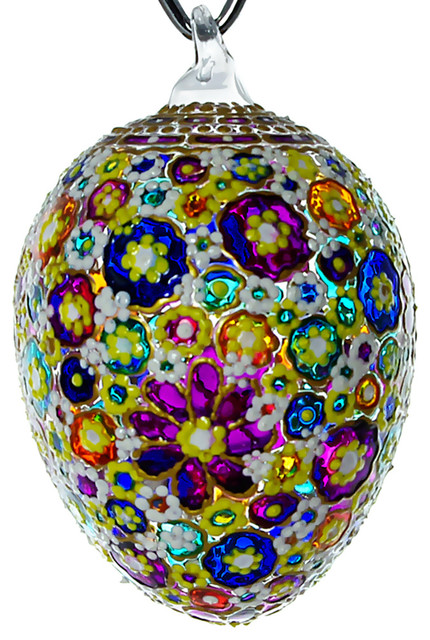 Awe Hand Blown Glass Easter Egg Ornament